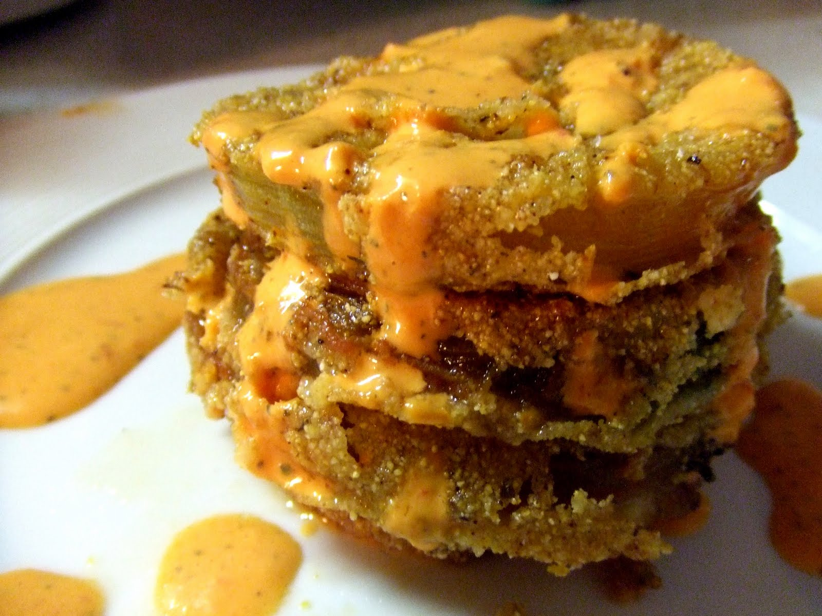 fried green tomatoes with red pepper sauce